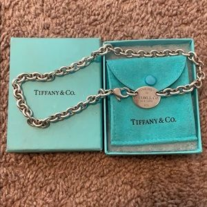 Tiffany & Co. Oval Tag Choker Necklace Authentic